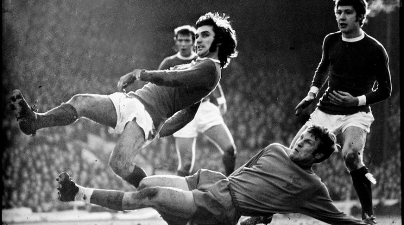 Manchester, England. March 1968. GEORGE BEST, Manchester United's winger escapes atackle from Crystal Palaces' David Payne in this First Division game at Old Trafford.